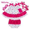 Linda Linda Bebê Conjunto Roupa Da Menina Sapatos de Algodão Dot Rose Red Sling Irritar Bloomers 4 pcs Balanço Set top Meninas roupas