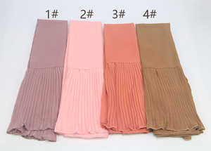 Image 5 - women plain bubble chiffon scarf Patchwork WRINKLED hijab wrap solid shawls headband popular hijab muslim scarves/scarf 50PC/LOT