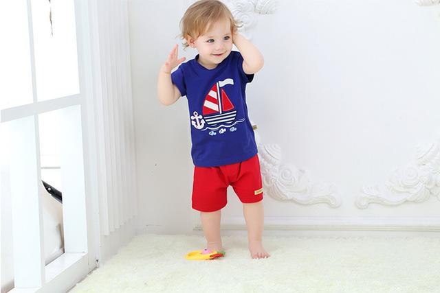 2016 verano Ropa de Bebé Conjuntos Niños súper Niños Niñas corto sleeveKids Marca Sport Se Adapta A Chándales de Algodón Corta + Pantalones 2 unids