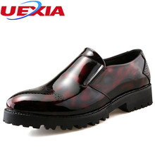 New Leather Men  Dress Shoes Pointed Toe Business Formals Oxfords Shoes for Men Men's Flats Patch Wedding Party Chaussure Homme