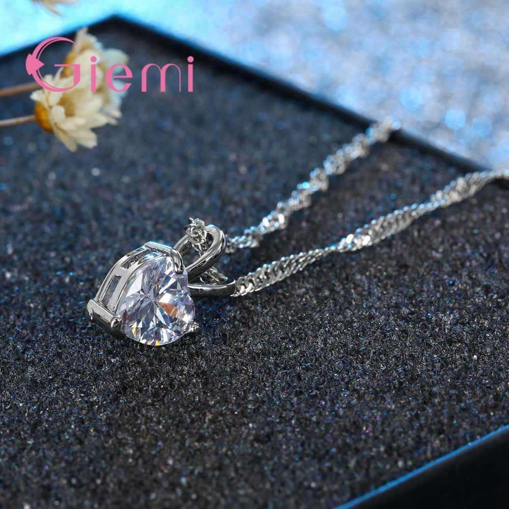 Modny romantyczny nowy projekt 925 Sterling Silver naszyjnik wisiorek super błyszczący kryształ cyrkonia dla kobiet dziewczyny