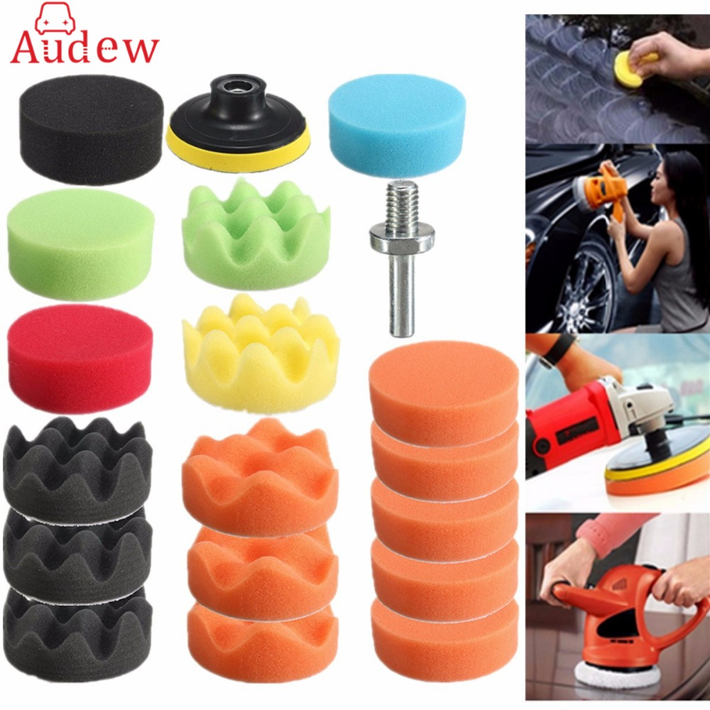 19Pcs 80mm High Gross Polishing Pad Kit For Car Polisher + M10 Drill Adapter 3inch