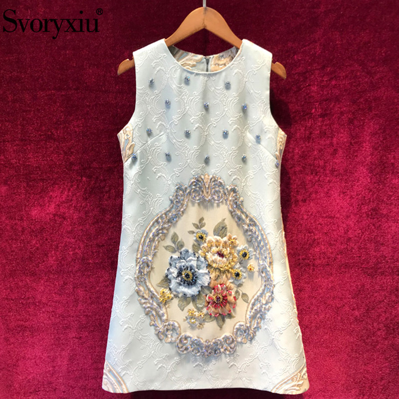 Svoryxiu Fashion Runway Autumn Gold Line Jacquard Sleeveless Dress Women s luxury Beading High End A
