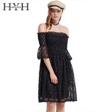 цена на HYH HAOYIHUI Women Stars Mesh Lace See Through Off Shoulder Midi Dress Half Sleeve High Waist Solid Black Sexy A Line Dress