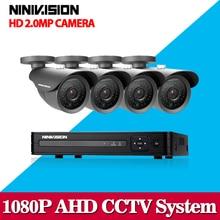 NINIVISION Sistema de Cámara de Seguridad CCTV Sistema 4×1080 P CCTV Cámara 2.0MP Cámara de Vigilancia Kit Sistema de Camaras de Seguridad