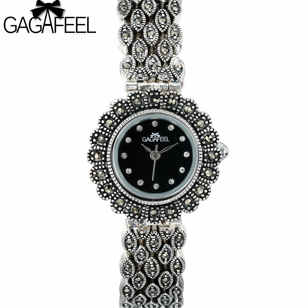GAGAFEEL 100% 925 Sterling Silver Watches Clock for Women Ladies Classic Thail Silver Quartz Watch Woman's Wristwatch Hours стоимость