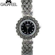 GAGAFEEL 100% 925 Prata Esterlina Relógios Relógio para Mulheres Senhoras Clássico Thail Prata Relógio De Quartzo Horas de relógio de Pulso da Mulher