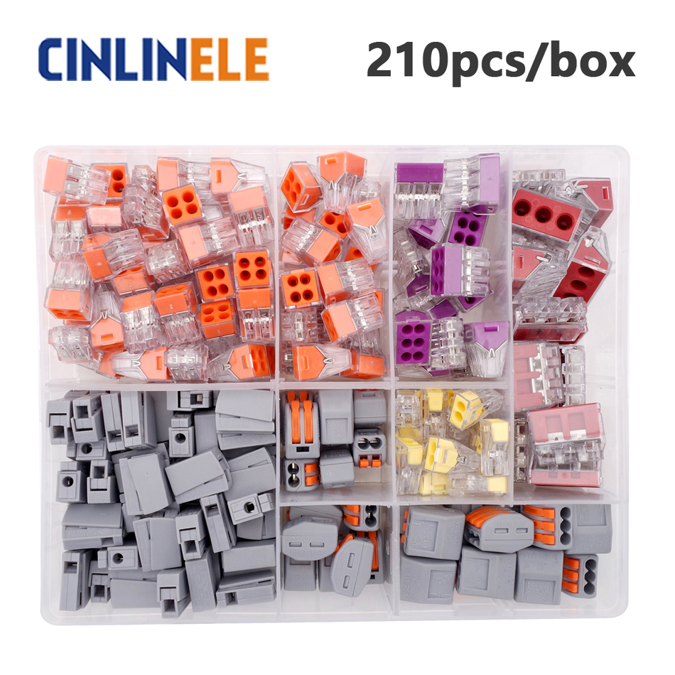 210pcs/box 5-room-set  fast WAGO Connector set Mixed Models Universal Compact Wire Wiring Connector Conductor Terminal Block remasters box 4 compact disc set cd