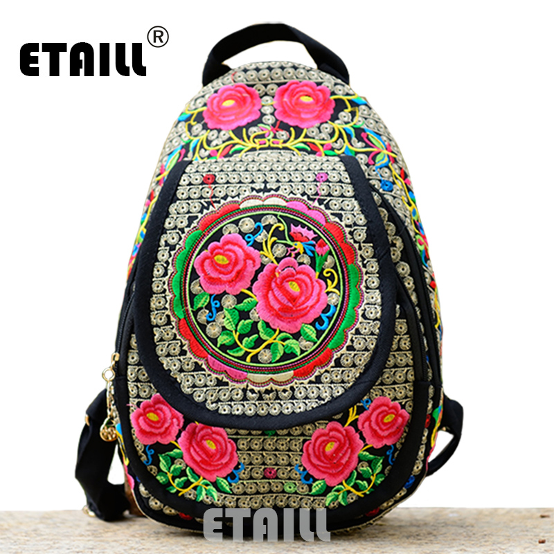 Chinese Hmong Boho Indian Thai Embroidery Brand Logo Backpack Handmade Embroidered Canvas Ethnic Travel Rucksack Sac a Dos Femme 100 super cute little embroidery chinese embroidery handmade art design book