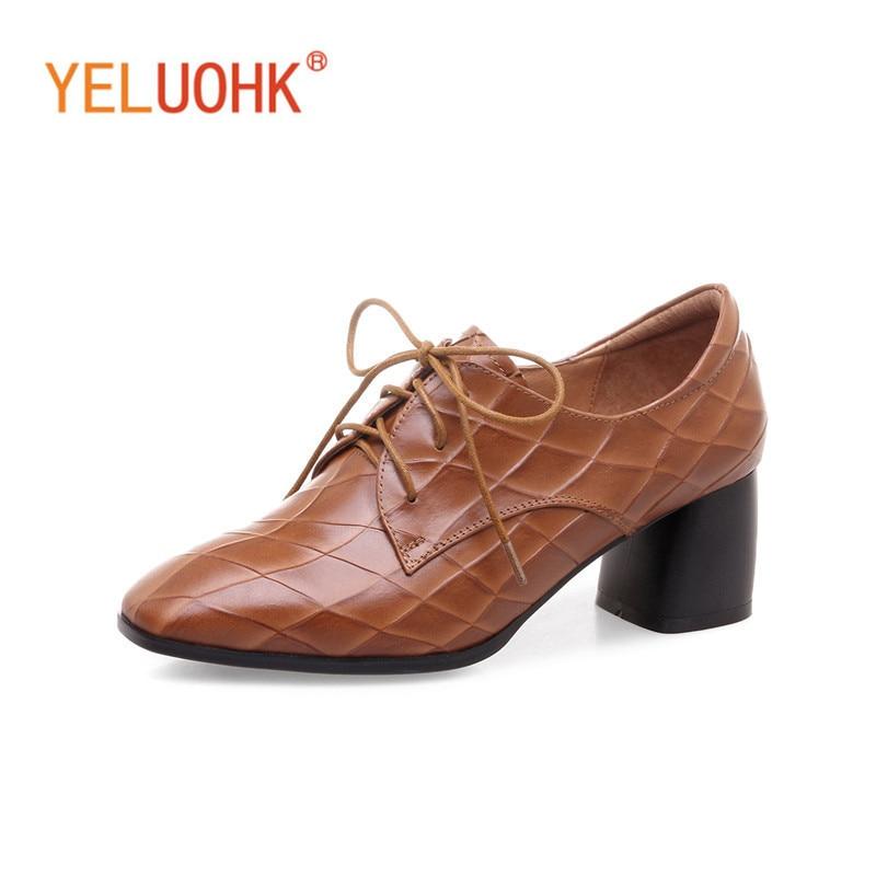 34-42 High Heels Women Genuine Leather Women Shoes Heels 2018 Spring Female Pumps High Quality Big Size Shoes Brown Black women high heels big