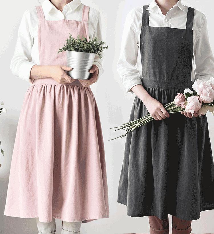 dcf45c01e Hermoso vestido princesa delantal algodón Delantales para mujer plisado  falda cocina delantal para Mujer Accesorios para hornear