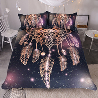 Hipster Watercolor Bedding Set Queen Size Dreamcatcher Feathers Duvet Cover Bohemian Printed Bed Cover USA AU