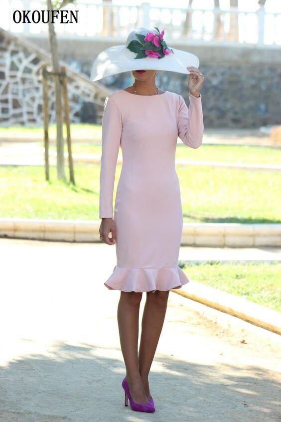 Simple Mother Of The Bride Dresses 2019 Knee Length Long Sleeves Ruffle Sheath V-Back Vestido De Madrinha Farsali Weddding Party