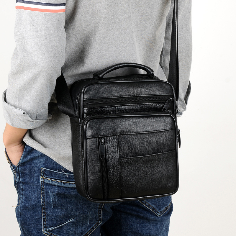 Casual MenS Business Leather Mini Crossbody Bag Sheepskin Small Men Single Shoulder Messenger Bags,A