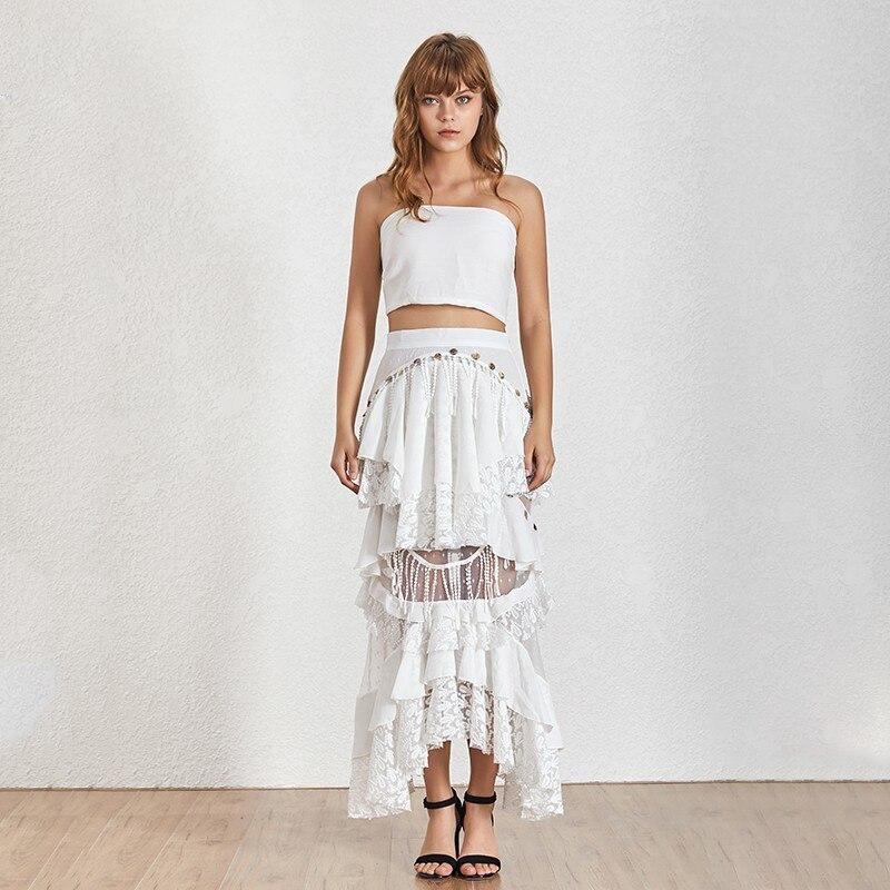 TWOTWINSTYLE Sexy Print Two Piece Set Halter Off Shoulder Crop Tops High Waist Sequin Patchwork Irregular Skirt Female Suit 2019