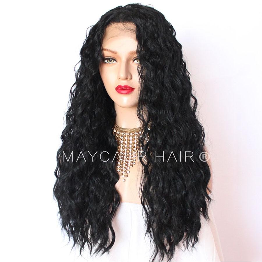 180 Täthet Långt Löst Curly Paryk Med Babyhår Syntetisk Lace - Syntetiskt hår - Foto 6