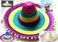 Взрослых Halloween Party Hat Косплей Костюм Гавайи Мексика Большой Большой Брим Соломенная Cap С Помпонами Шаров Смешные Цвета Шляпа B-2914