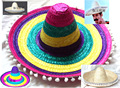 Adults Halloween Party Hat Cosplay Costume Hawaii Mexico Big Large Brim Straw Cap With Pompoms Balls Funny Color Hat  B-2914