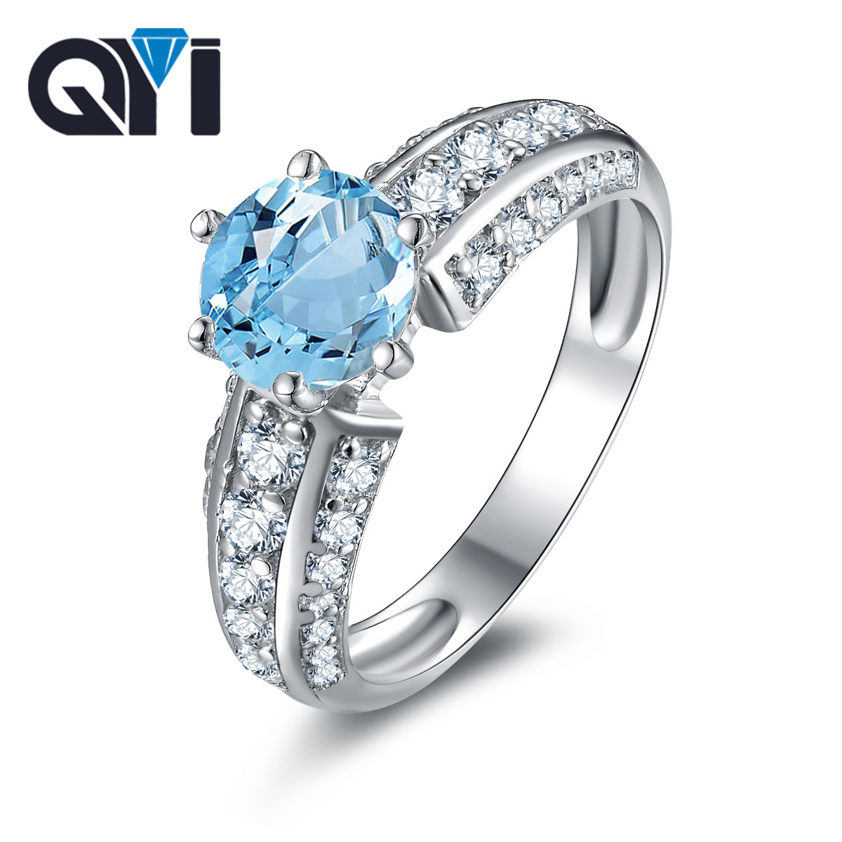 QYI 925 Sterling Silver Natural Sky Blue Topaz Rings Luxury 1.25 Ct Topaz Jewelry for Women Gemstone Engagement RingQYI 925 Sterling Silver Natural Sky Blue Topaz Rings Luxury 1.25 Ct Topaz Jewelry for Women Gemstone Engagement Ring