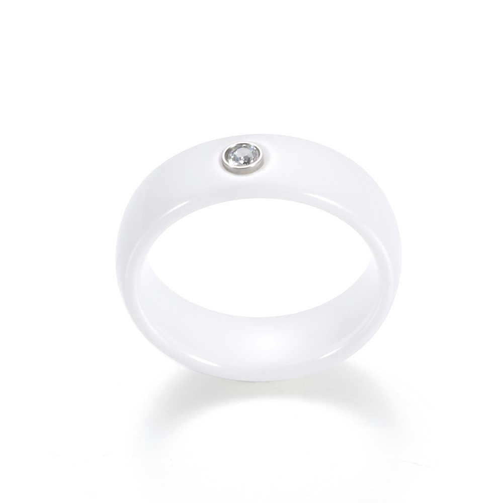 Новое поступление, черно-белое красочное кольцо, керамическое кольцо для женщин с большим кристаллом, обручальное кольцо шириной 6 мм, размер 6-10, подарок для мужчин