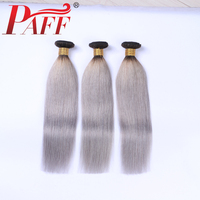 PAFF 1B/Grey Straight Human Hair 3 Bundles Ombre Brazilian Human Hair Weave Gray Ombre Hair Two Tone Color Remy Hair Extention