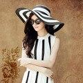 Летом большой краев Sunbonnet шапки для женщин черный и белый полосатый солнце пляж соломенная шляпа бесплатная доставка SDDS-005