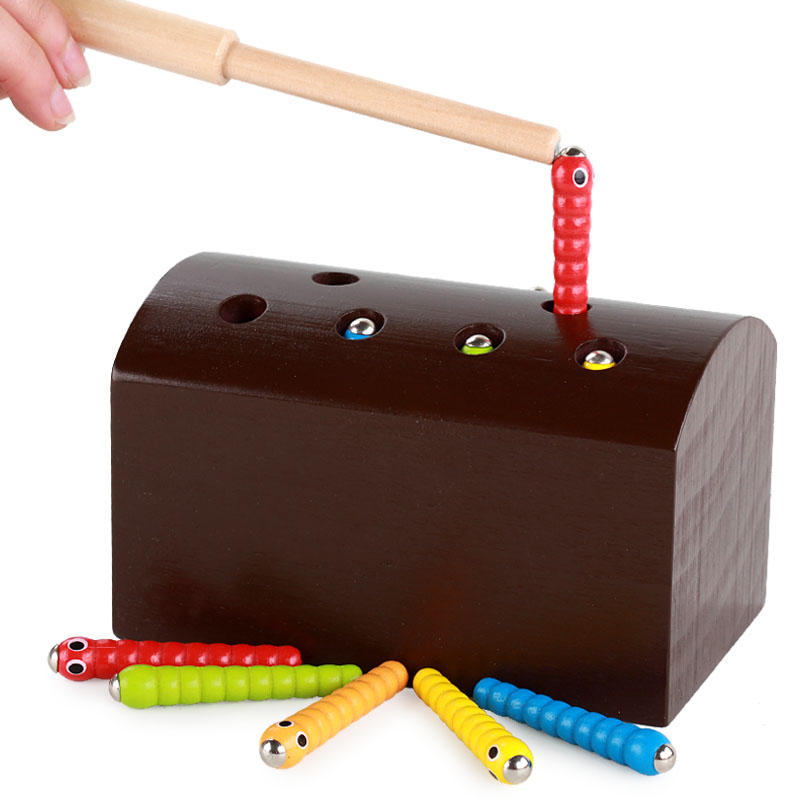 Wooden Toys Magnet Fishing Insect Game Caterpillar Shape Matching Education Bugs Wood Parent Child Interactive Toys For Children