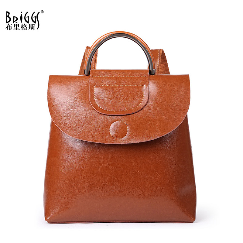 BRIGGS Preppy Style Genuine Leather Women Backpack Vintage School Backpack For Girls Brand Designer Shoulder Bags qiaobao qiaobao japan and korean style genuine leather women backpack vintage school backpack for girls brand designer bags best