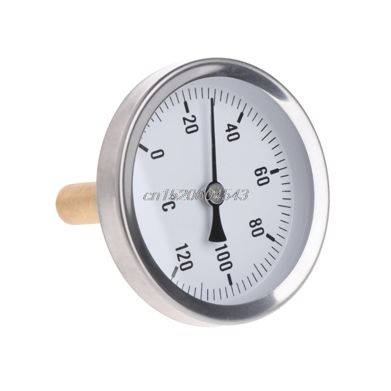 63mm Dial Horizontal Thermometer Aluminum Temperature Gauge Meter Liquid Water R07 Drop ship