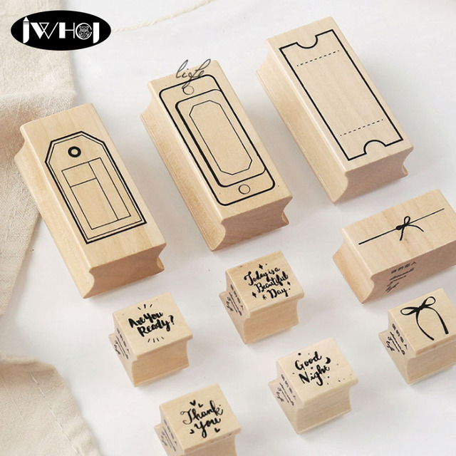 Packaging Series Wood Stamp Labeling Tags Wooden Rubber Stamps For Scrapbooking Handmade Card Diy Photo