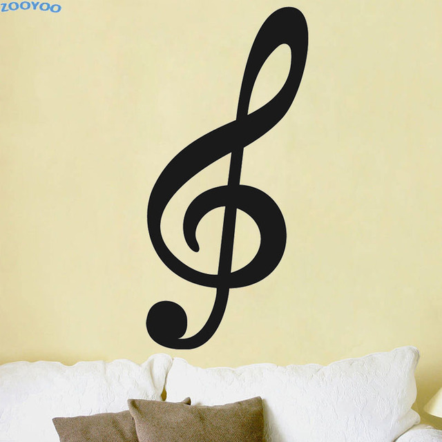ZOOYOO Large Size Treble Clef Musical Note Wall Sticker Home Decor ...