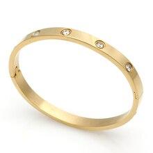 Fashion Couple Love Jewelry Crystal Cuff Bracelet for Women/Men Gold Color Stainless Steel Bracelets & Bangles Bijoux Best Gift недорого