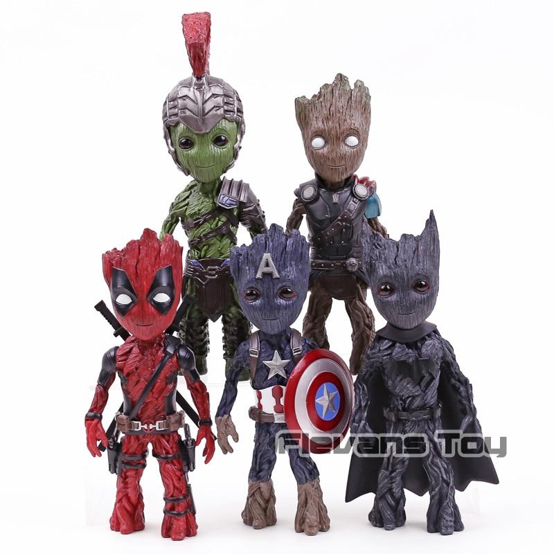 Les gardiens de la galaxie arbre homme Cos Captain America Thor Hulk Deadpool Batman PVC Figure jouet Collection modèle Statue