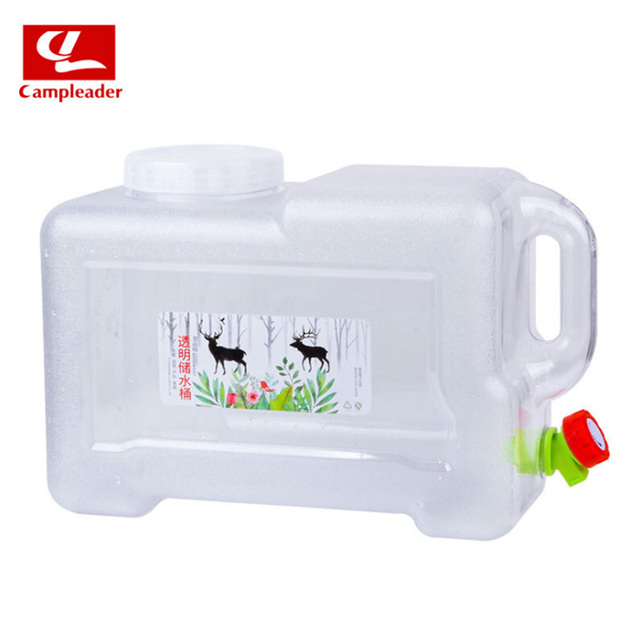 Campleader 12L Camping Bucket Quartet PVC Car Bucket with Faucet Driving Car Thickening White Transparent Bucket CL002