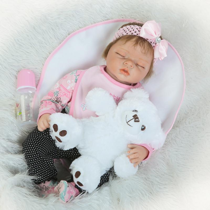 50cm soft body silicone reborn baby doll toy lifelike baby reborn sleeping newborn boy doll kids birthday gift girl brinquedos 55cm  Soft Silicone Reborn Sleeping Baby Doll Lifelike Newborn Alive Baby-Reborn Doll Girl BeBe Brinquedos Birthday Gift