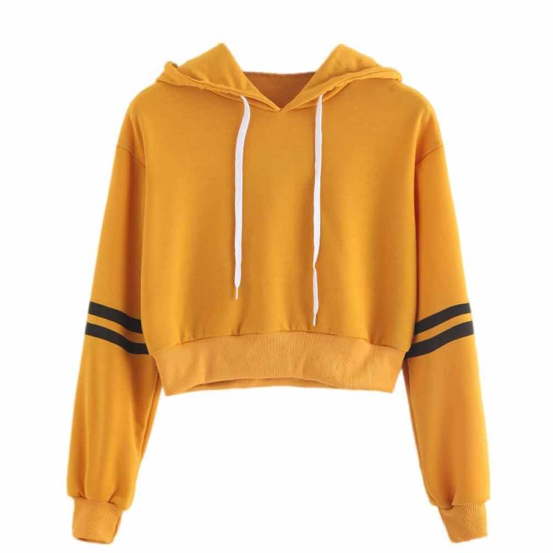 Women's Sweatshirt Jumper Crop Pullover Tops Fashion Sweatshirt Women Varsity-Striped Drawstring Woman Crop Hoodie thumbnail