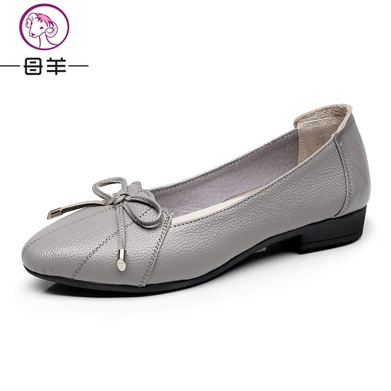 MUYANG Plus Größe 35-43 Echtes Leder Frauen Schuhe Frau Wohnungen - Damenschuhe - Foto 3