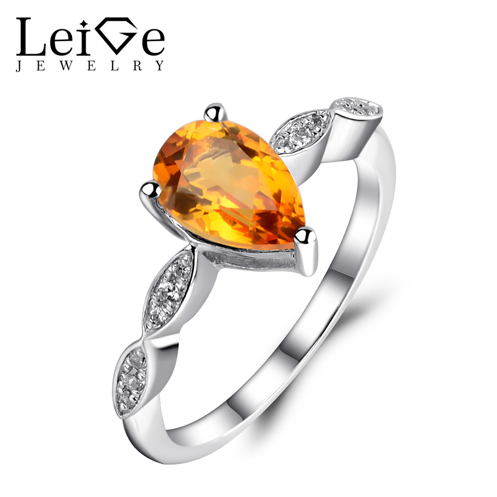 Leige Jewelry Natural Citrine Ring Yellow Crystal Pear Cut 925 Silver Anniversary Engagement Rings for Women Fine JewelryLeige Jewelry Natural Citrine Ring Yellow Crystal Pear Cut 925 Silver Anniversary Engagement Rings for Women Fine Jewelry