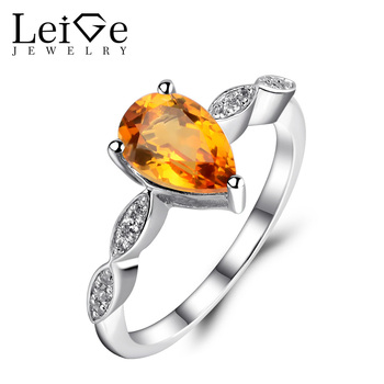 Leige Jewelry Natural Citrine Ring Yellow Crystal Pear Cut 925 Silver Anniversary Engagement Rings for Women Fine Jewelry
