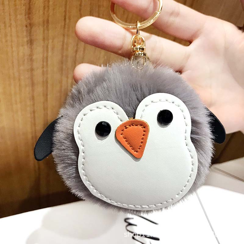 Soft Fluffy Faux Penguin Pompom Ball HandBag Pendant Cars Key Chain Key~Ring