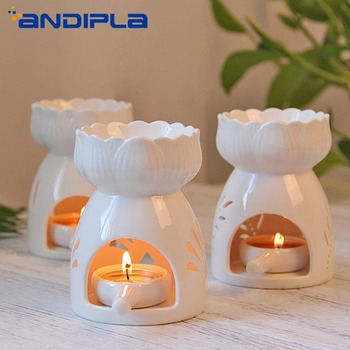 Brief White Ceramic Lotus Aromatherapy Lamp Candle Incense Burners Essential Oil Diffuser Aroma Burner Hotel Home Romantic Decor