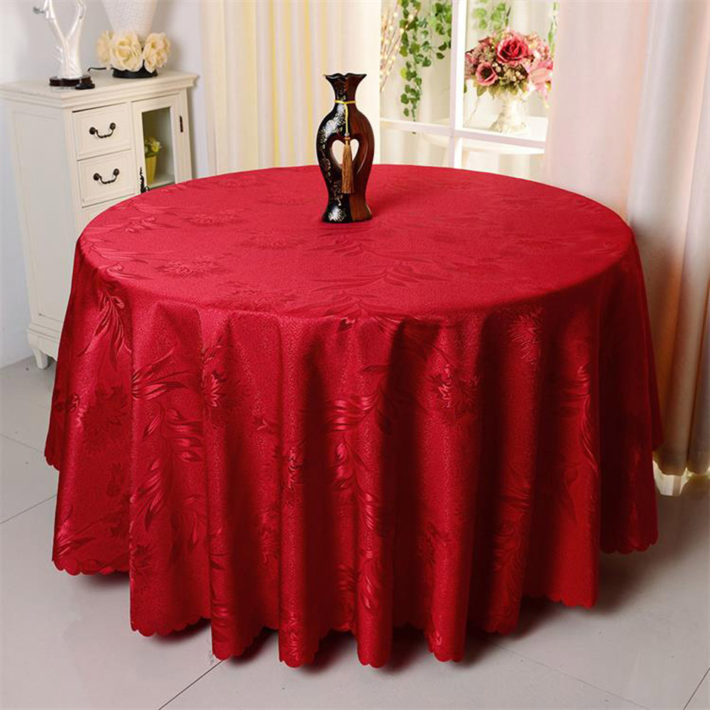 10PC Hotel Wedding Party Decorative Phoenix Flower Round Table Cloth  Restaurant Washable Polyester Chinese Red Gold