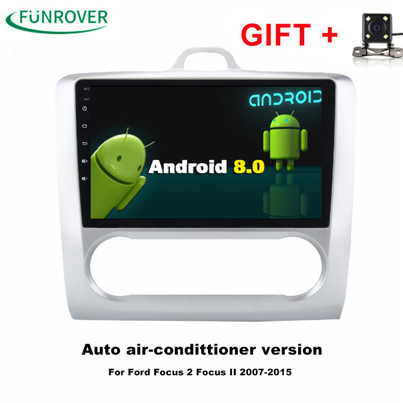 FUNROVER Quad-core 2 Din 9 Android 8.0 Car PC DVD GPS For Ford Focus AT MT 2005-2011 2GB ...