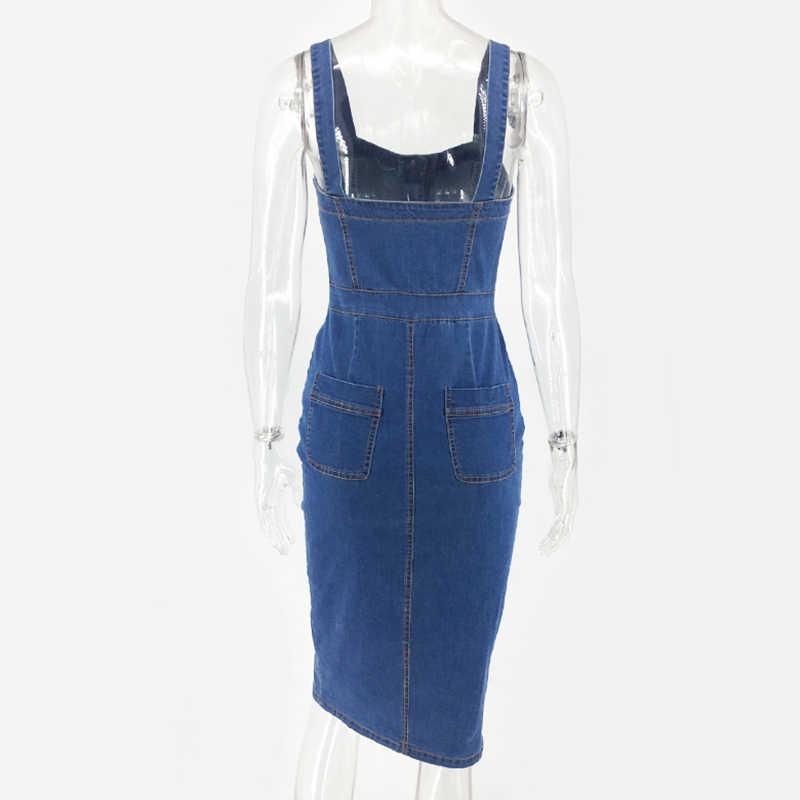 Женское джинсовое платье NewAsia Garden, привлекательное летнее платье без рукавов, джинсовое платье-карандаш, элегантные облегающие праздничные платья-миди больших размеров