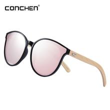 CONCHEN  Bamboo Pink Sunglasses For Women 2018 High Quality Wooden Sun Glasses elegant Brand Designer цены