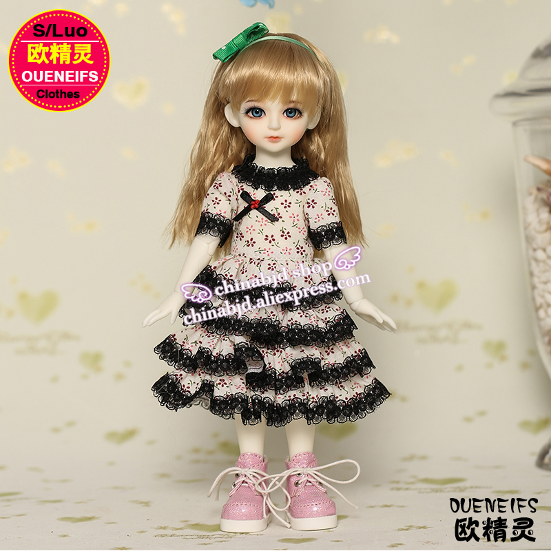OUENEIFS free shipping customization original skirt floral dress Black lace bjd sd doll 1/6 clothes YF6-100 no doll or wig 1 3rd scale 65cm bjd nude doll bazael bjd sd doll boy with face up not included clothes wig shoes and accessories