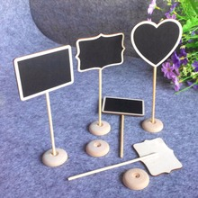12Pcs/lot Wedding Decoration Retangle Mini Chalkboard Blackboard Seat Stand Wedding Lolly Heart Square Party Tags