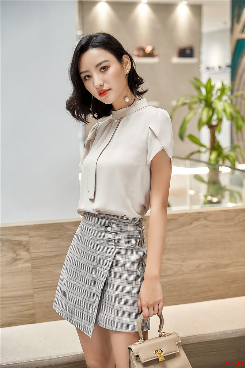Summer Elegant Styles 2 Piece Set With Tops And Skirt For Ladies Office Women Business Work Wear Blouses & Shirts Sets Plus Size