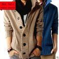 Fast Shipping fashion big lapel single-breasted men's sweater real wool cotton men's sweater men's coat wool coat cardigan man