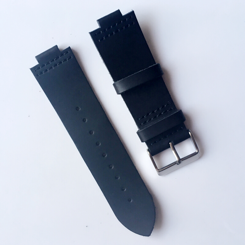 22MM genuine leather Crazy horse leather Watch band watch strap man watch straps black For Wood Watch tjw 2018 primary zone of environmental protection leather bamboo watch ebony watch crazy horse leather strap
